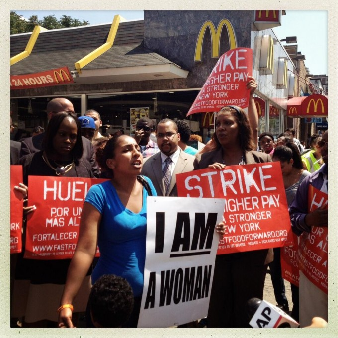 Photo of striking workers in New York on Monday by Annette Berhardt of the National Employment Law Project.
