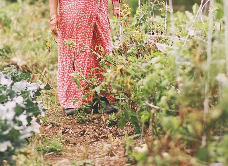 Goma in her garden