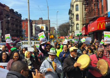 South Bronx residents march in a rally opposing a FreshDirect distribution hub in their neighborhood. Photo by Carlos Sabater.