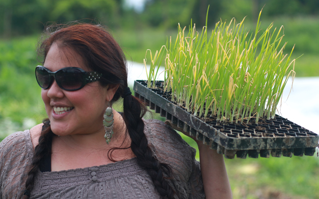 Tarin Gonzalez, an organizer with the Victory Bus Project, helps transplant young onion plants. Photo by Sky Scholfield.