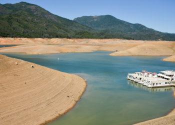 Lake Shasta at low water level