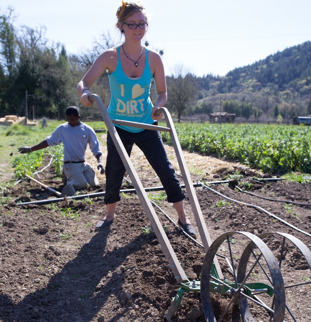 """Fallon Johnson, a """"capstone"""" student, works the field with the help of an AmeriCorps volunteer. Credit: Ruthie King."""