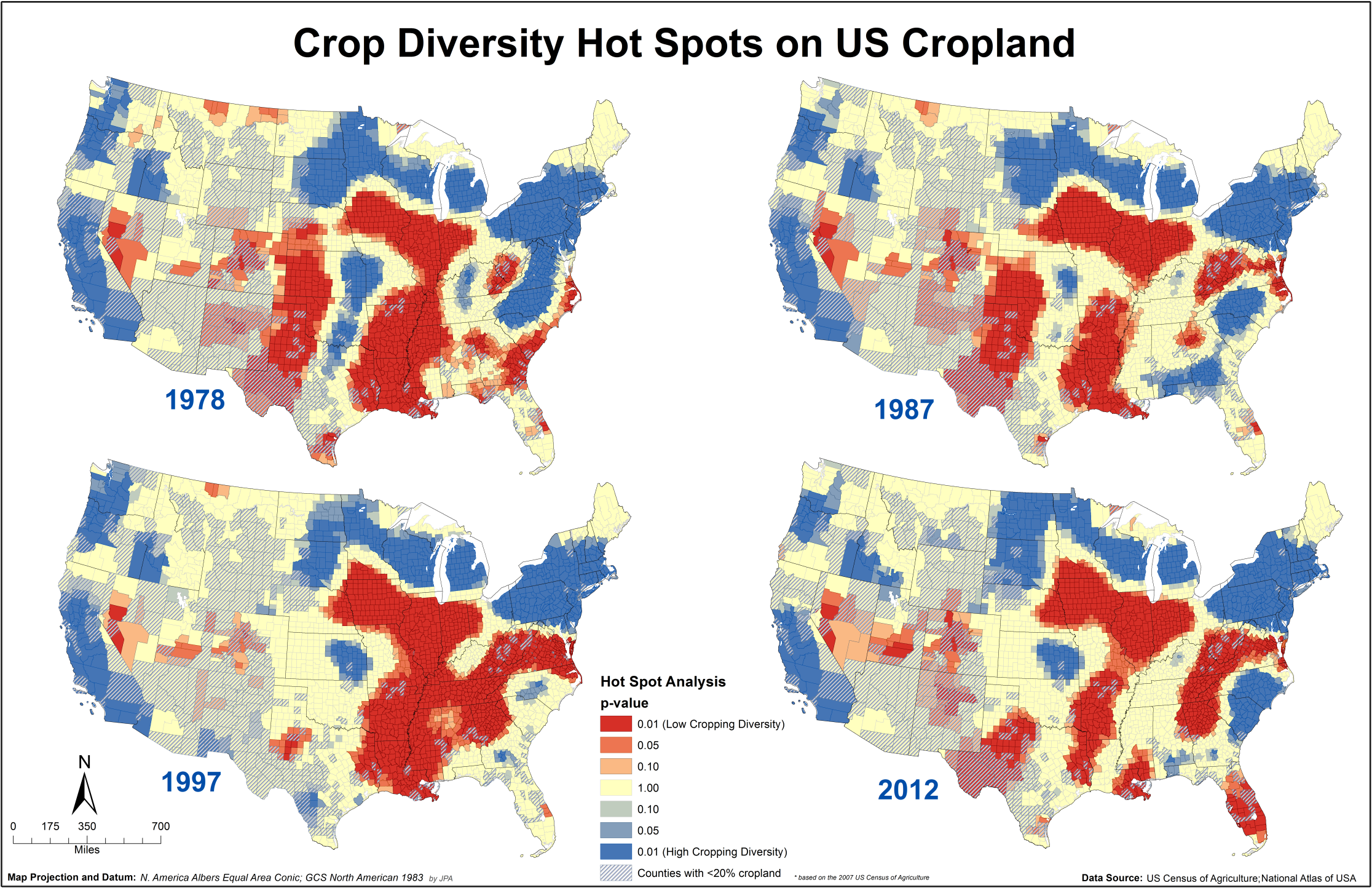US Farms Becoming Less Diverse Over Time Civil Eats - Us agriculture map