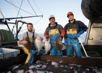 Monterey Fishermen with Groundfish on Fishing Boat