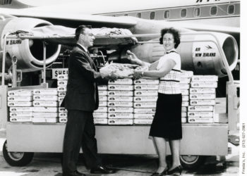 Frieda Caplan with her First Shipment of Kiwis