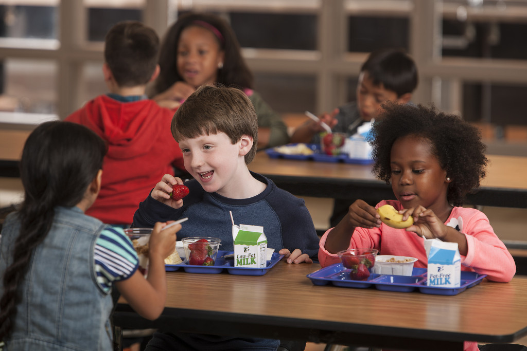 Children Eating School Food at Lunch