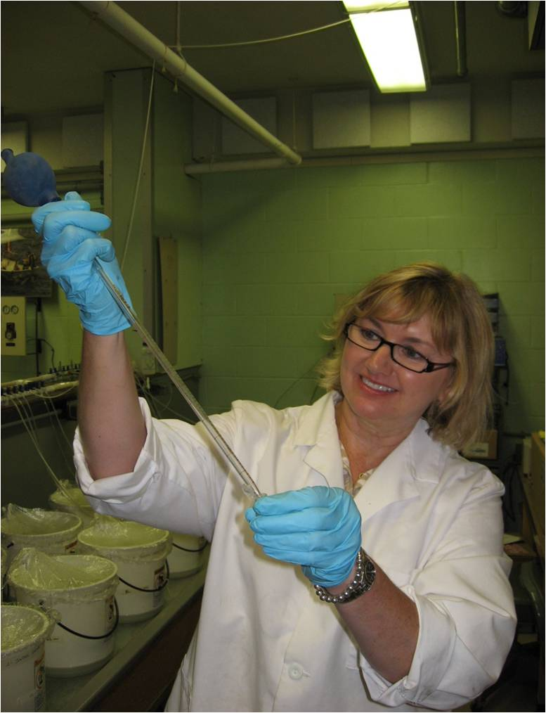 Diane Pipetting Oyster Larvae