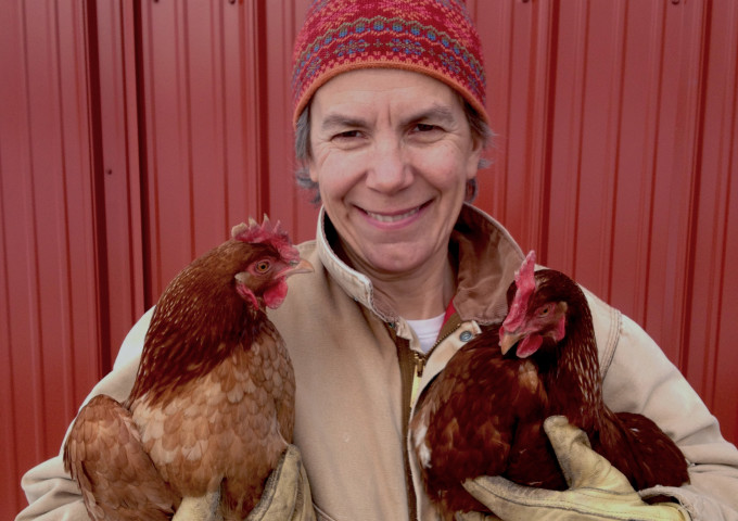 Dr. Miriam Nelson Holding Chickens
