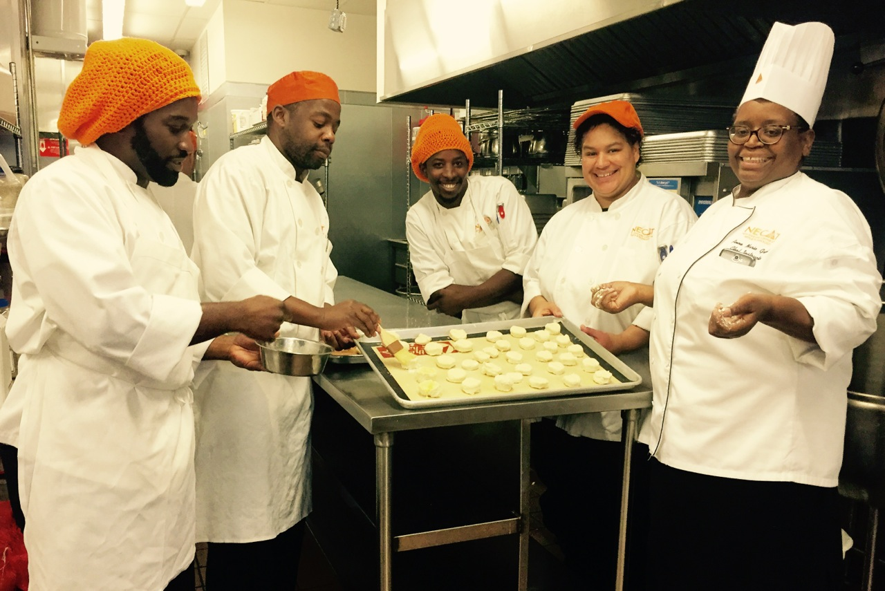 Trainee Cooks with Chef at the New England Center for Arts and Technology