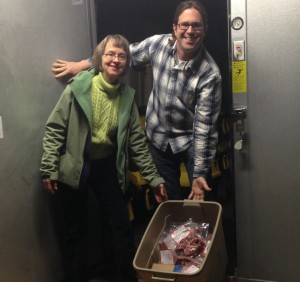 Meat Locker Owner Matt LeRoux with a Customer
