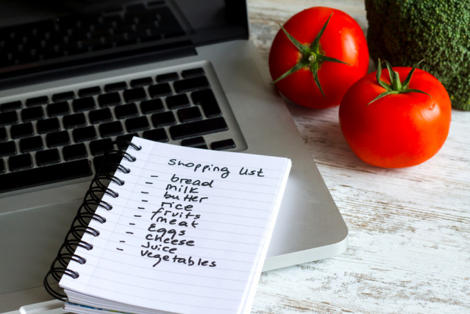 Grocery List and Laptop