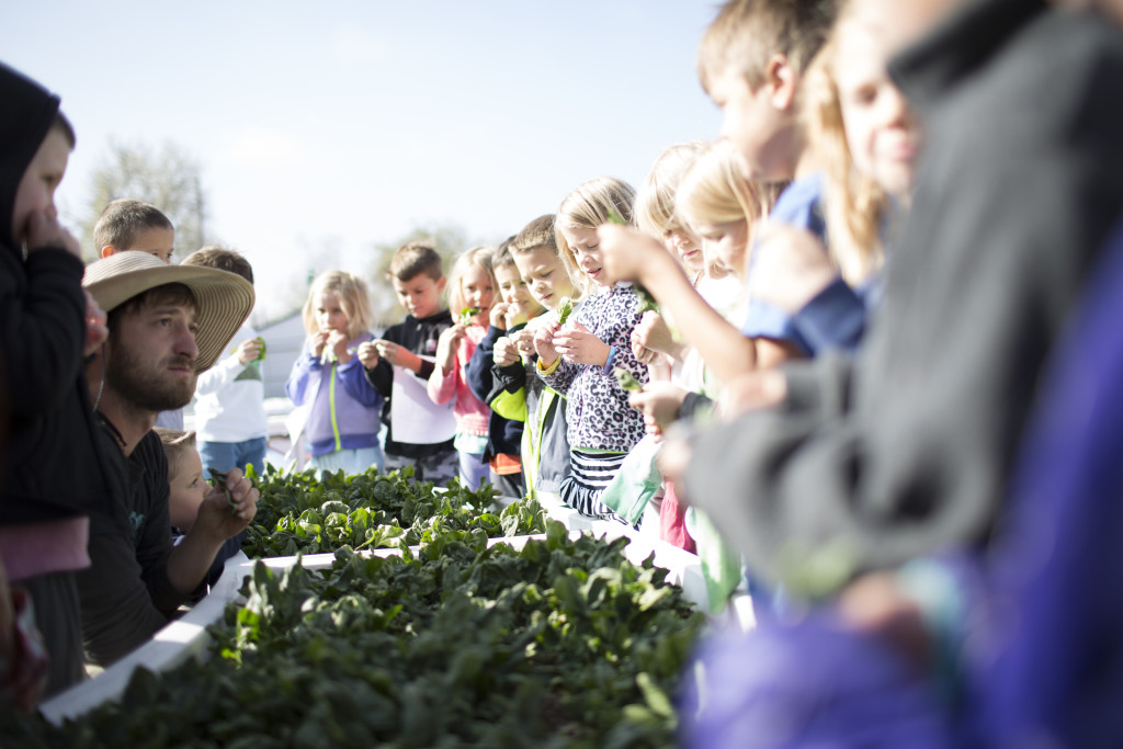 Learning Garden with Instructor and School Children