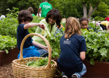 Michelle Obama with Children in Vegetable Garden