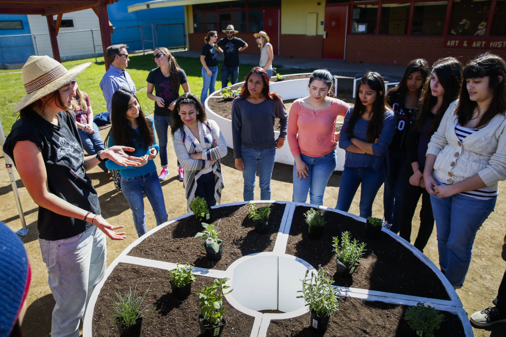 Learning Garden with Parents, Teachers, and Students at a High School in LA