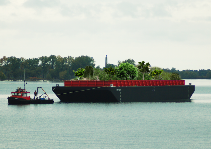 A rendering of Swale, the floating food forest