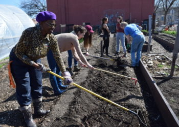 Eco Practicum NYC Participants Hoe the Garden