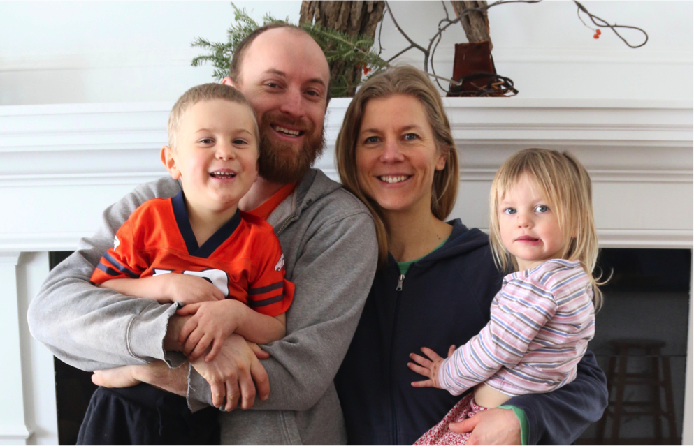 Nate Watters, Tracey Jonkman, and their children, Tristan and Fiona