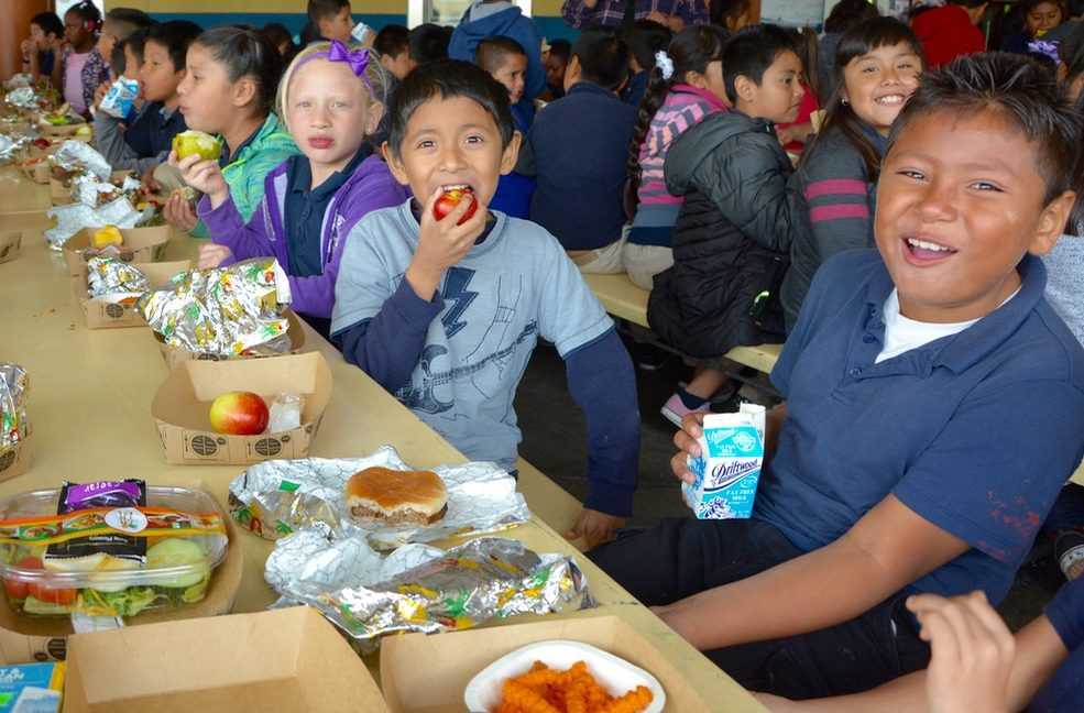 Students at LA Unified school district Good Food Purchasing Policy