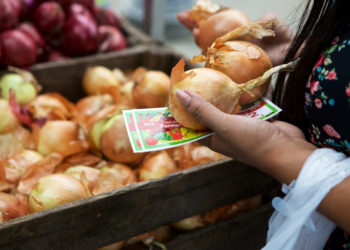 woman buying produce with voucher