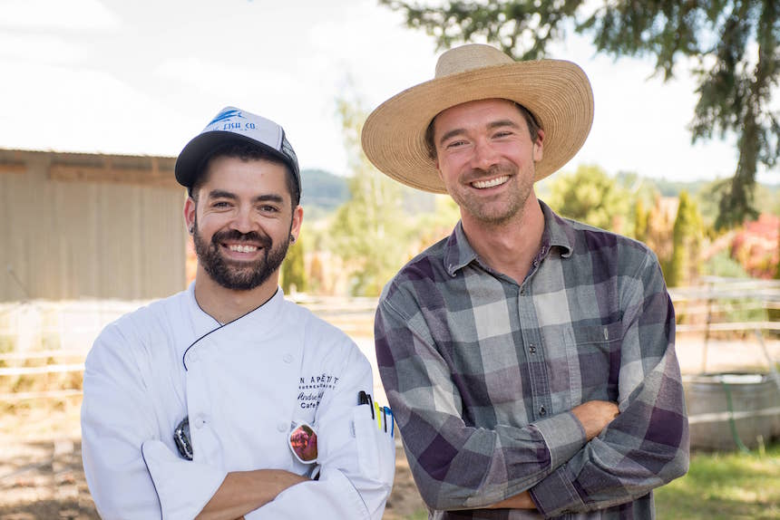farm-to-institution Jesse Nichols and Chef Andre Uribe of Willamette University