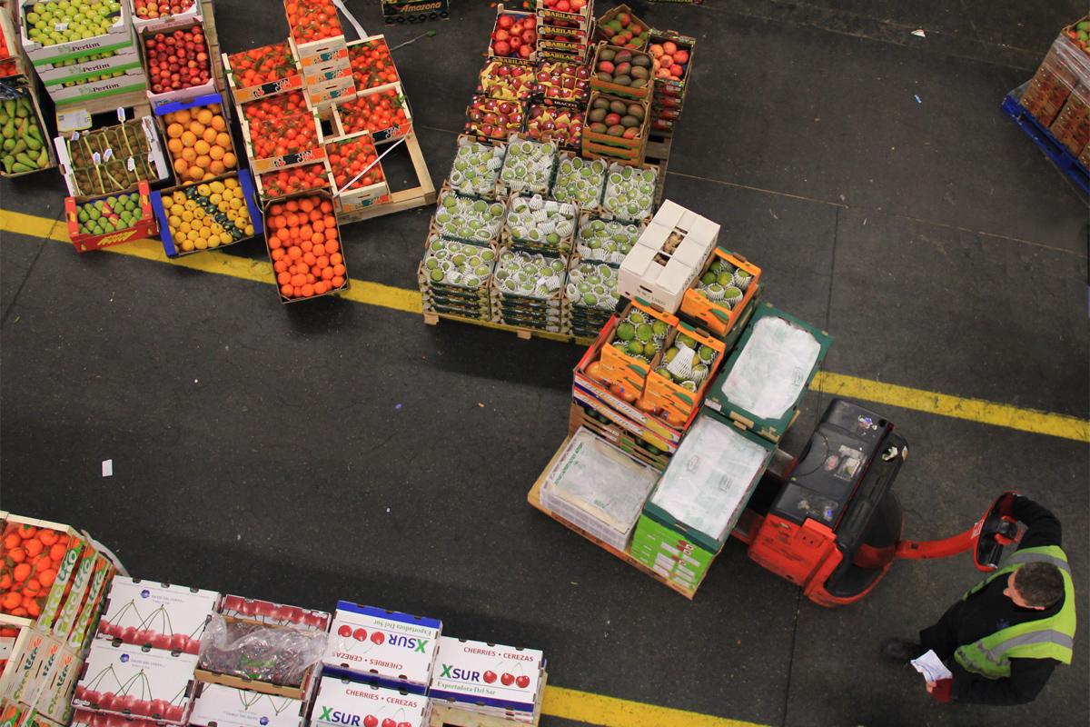 produce on pallets