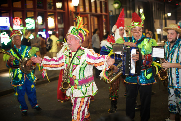 A marching band consisting of Mummers—a group that stirs up controversy with racist and sexist displays during their annual New Year's Day parade—also performed at the event.