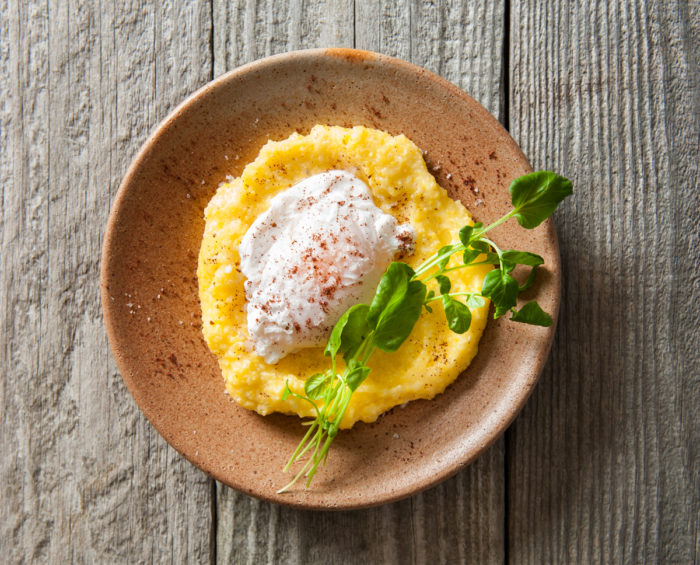 Old-Fashioned Cornmeal Mush with Poached Eggs. (Photo by Mette Nielsen.)