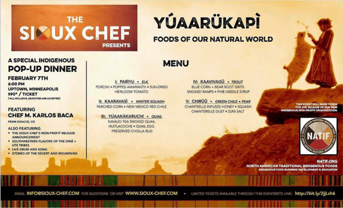 Menu for indigenous dinner