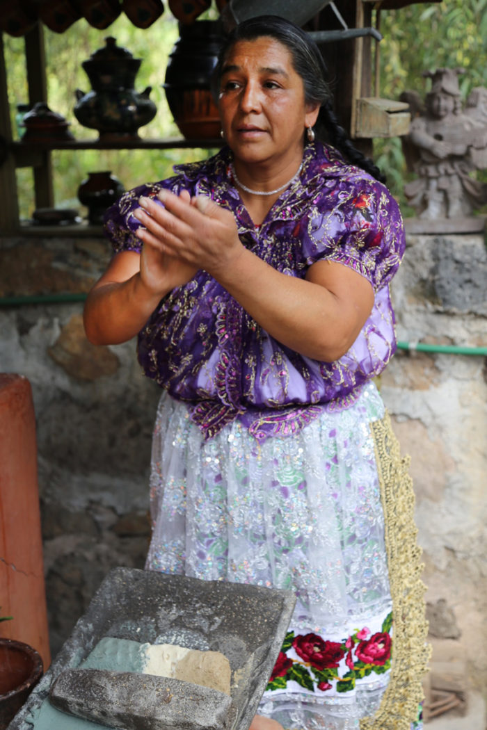 Benedicta Alejo Vargas making her famous tricolor tortillas in Morelia, Michoacan using corn from her town, San Lorenzo, Michoacan. (Photo credit: Venetia Thompson)