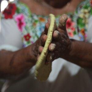 Antonia Chulim Noh making tortillas by hand in Kahua, Yucatan. The corn is from her own milpa.