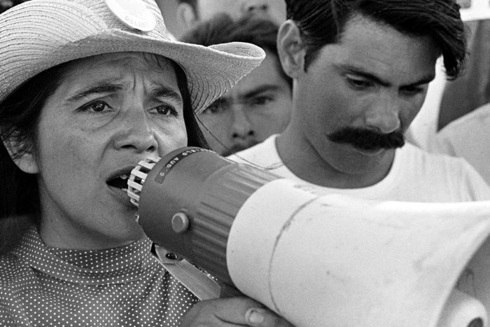 dolores huerta with a megaphone