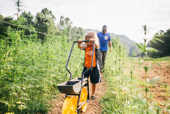 Mike Lewis and his son on their industrial hemp farm. (Photo courtesy of Growing Warriors)