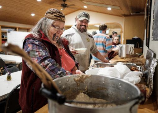 Tolowa elder Bertha Peters at the tribe's feast.