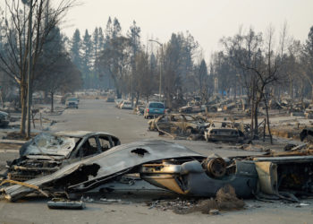 The Coffey Park subdivision of Santa Rosa was one of the hardest hit neighborhoods with at least 1300 homes destroyed and several deaths (unknown how many as authorities still searching ruins). The fire, which started off of Mark West Springs Road swept through the Larkfield Wikiup neighborhoods and then jumped Highway 101 into Coffey Park. (Photo credit: Anne Belden)
