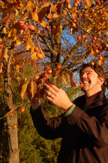 Fullsteam founder Sean Lilly Wilson inspects wild persimmons.