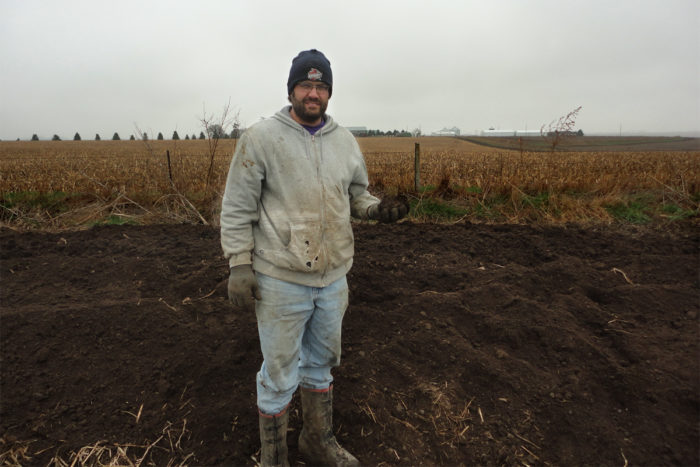 David Rosmann at the family's manure composting area. (Photo courtesy of Ron Rosmann)