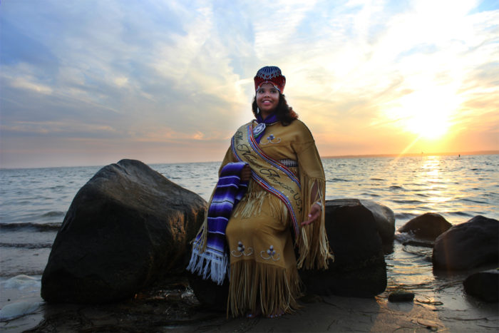 Autumn Rose Williams, the first ever Shinnecock to be named Miss Native American USA, posing for photos on native Shinnecock land. (Photo by Alexandra Talty)