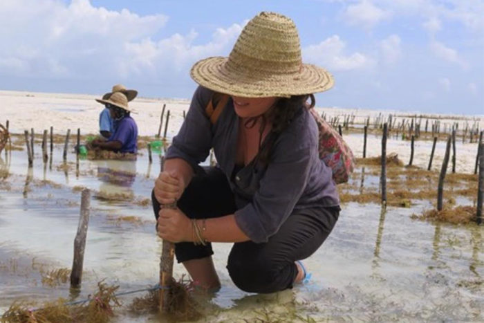 Tessa Emmer learning how to farm seaweed in Zanzibar. (Photo courtesy Salt Point Seaweed)