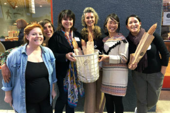 From left: Jules Exum, Leyna Lightman, Nan Kohler, Kate Pepper, Mai Nguyen, and Roxana Jullapat. (Photo credit: Guy Frenkel)
