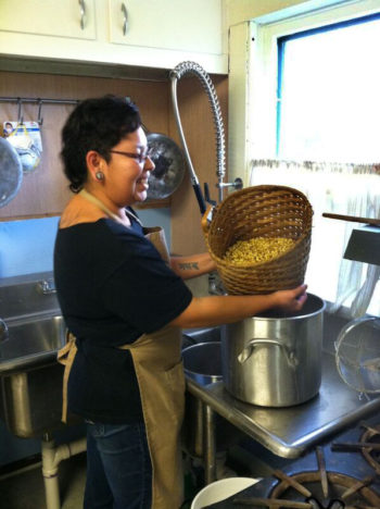 Washing the corn (photo credit: Friends of Ganondagan)