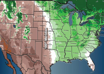 map of the 100th meridian shift