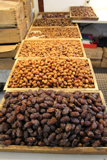 Different varieties of dates await packaging in the Bautista's processing house.