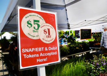 SNAP sign at the Portsmouth, Maine, farmers' market. (Photo CC-licensed by Seacoast Eat Local)
