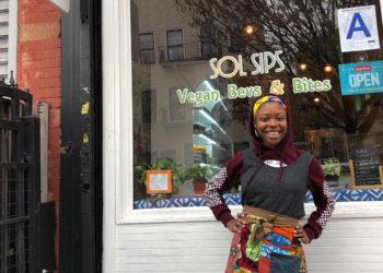 Francesca Chaney in front of Sol Sips, her vegan cafe in Brooklyn. (Photo courtesy Sol Sips)