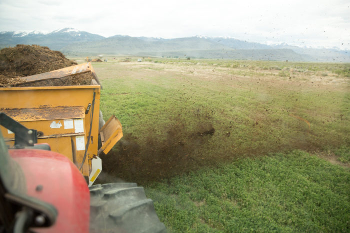 Spreading compost at Bare Ranch. (Photo credit: Paige Green)