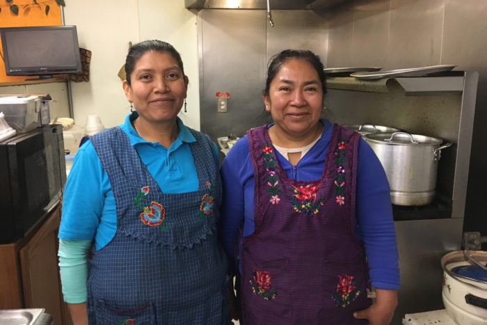 Sylvia Rojas (left) and Rosa Hernandez, co-owners of Colectivo Sabor a Mi Tierra. (Photo credit: Lisa Morehouse)