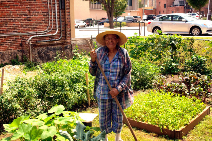 A senior member of Pleasant Hope Baptist Church works in Maxine's Garden.