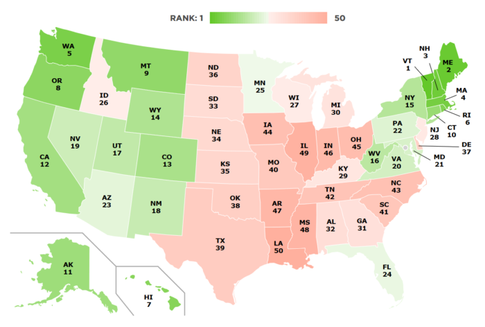 Map: Overall State Food System Rankings