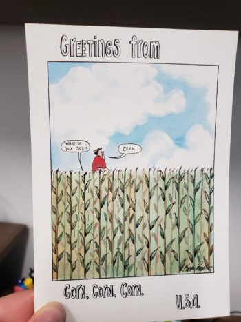 Greeting card: greetings from corn corn corn USA
