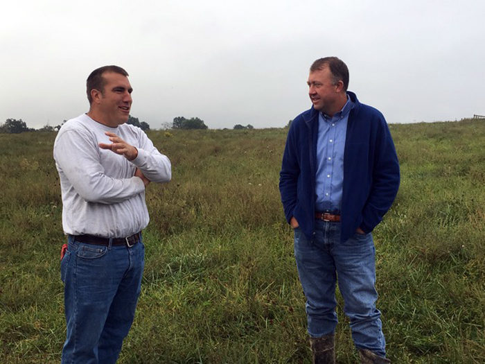 Clint Wood and John Logan, livestock farmers of Home Place Meat, a project of The Berry Center that enables local livestock farmers to sell to local markets.